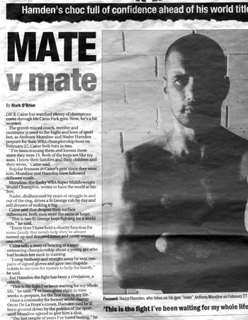 Nader Hamden and Anthony Mundine news article