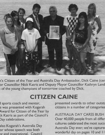 Australia Day Ambassador presentation to Dick Caine