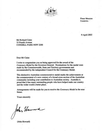 Tribute letter from Prime Minister John Howard