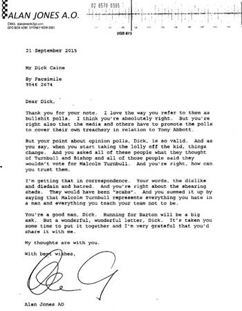 2GB Broadcaster Alan Jones letter to Dick Caine