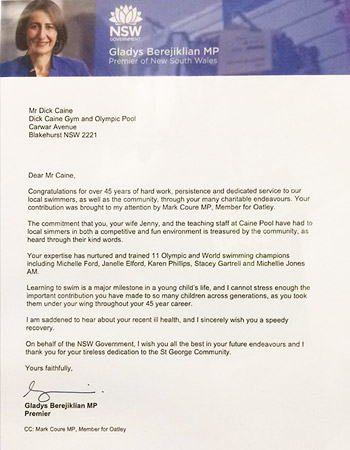 Premier Gladys Berejiklian's Tribute letter to Dick Caine for 45 years of community service