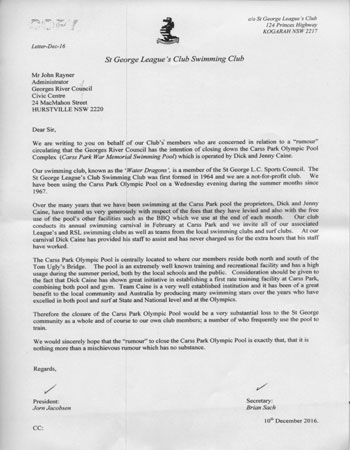 St George RLFC Swim Club Tribute letter to Dick and Jenny Caine